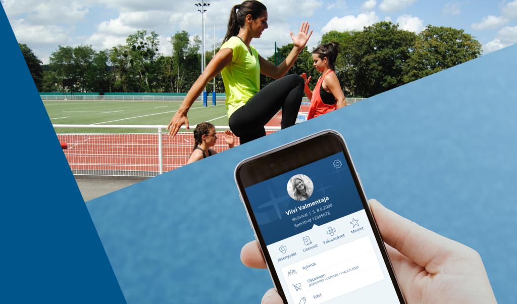 Kännykän näytöllä näkyvissä valmentajan näkymä Suomisportissa. Taustalla nuoria harjoituksissa urheilukentällä.